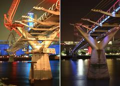 The Millennium Bridge May 2000 And August 2012 (Bill-Green) Tags: lights illuminations tatemodern london2012 themillenniumbridge london2000 tatemodernopening