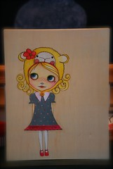 Maddie on Wood (tunibug) Tags: art collage pencil doll ode mixedmedia colored blythe acrylics woodburning lalatroop