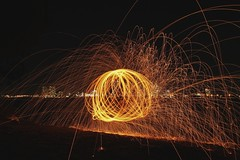 Fire Twirling (Seven_Seas_Photography) Tags: longexposure night goldcoast week3 firetwirling thespit 52weeksofphotos