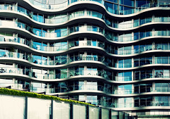 Curves (Explore #1) (martinturner) Tags: bridge london glass thames skyline architecture modern chelsea view angle riverside albert curves north wide grand curvy norman foster wharf riverfront residential battersea luxury development aluminium hutchinson albion bendy whampoa bends martinturner