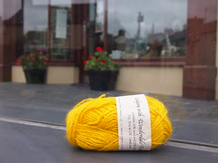 Tregaron yellow (birdlouise) Tags: travel two art film wool public buses wales project still friend knitting craft photograph journey artists ceredigion tregaron