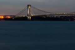 Verrazano Bridge, night New York Harbor