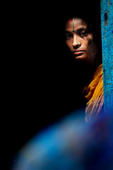 Melancholy (Javed.Miandad) Tags: she life blue woman color canon hope sadness jazz hide dhaka melancholy holi bangladesh unconventional mystry 550d