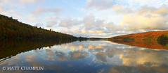 Autumn Panoramic at Eighth Lake (Matt Champlin) Tags: autumn sunset woman reflection fall nature canon reflecting evening amazing peace stacey peaceful adirondacks wife upstatenewyork stace relaxation incredible tranquil adk 2011 eighthlake womanstandingondock fallintheadirondacks autumnadirondacks