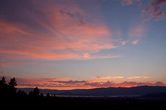 August Sunset in the Okanagan 6 (LongInt57) Tags: pink blue trees sunset shadow sky orange cloud sun mountain lake canada black mountains tree water silhouette clouds landscape grey glow shadows bc okanagan hill gray lakes scenic silhouettes sunsets hills valley glowing