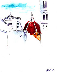 DoF (Wasfi Akab) Tags: china santa street old city blue original light shadow red sky italy brown white black tower art water beautiful beauty modern del ink watercolor painting paper landscape geotagged sketch florence italian europe paint strada artist italia day cityscape cathedral artistic bell outdoor drawing maria iraq belltower east campanile tuscany dome painter firenze duomo draw exile middle toscana fiore iraqi artista brunelleschi giotto tuscan ocher middleast akab wasfi