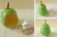 Bunny on a green pear (Sombrilla Verde) Tags: white rabbit bunny green miniature polka dot gourd figurine leafs whimsical guaje