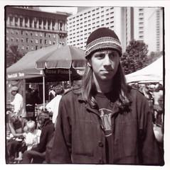 Eric at Farmer's Market (1207 Photography) Tags: sanfrancisco california boy blackandwhite man guy 120 film farmersmarket longhair dude ferrybuilding beanie dianaf