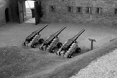 Guns BW (Little Boffin (PeterEdin)) Tags: old blackandwhite bw white black slr castle monochrome canon buildings eos rebel grey coast scotland town blackwhite ancient gun alba broughtyferry dundee fort citadel oldbuildings historic coastal cannon artillery dslr fortification chateau towns stronghold fortress canoneos tayside weapons singlelensreflex firearm blackandwhitephotography ecosse blackwhitephotography historicbuildings ancientbuildings broughtycastle dunde 400d rebelxti canoneos400d canonrebelxti canon400d digitalsinglelensreflex bruachtatha brochtie dùndè