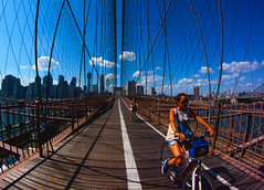 Bridge to Brooklyn (jezselten) Tags: street york old city urban usa ny newyork black reflection art kids contrast america buildings river happy cycling model colours