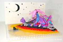 Invert Island (Original) (Siercon and Coral) Tags: ocean pink moon water island shark lego pirate inverted starts invert moc