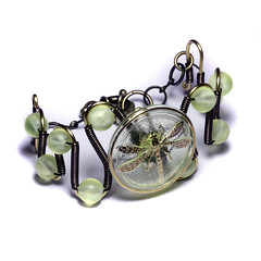Steampunk Bracelet - Vintage Czech Uranium Glass with Art Deco DRAGONFLY Button (Catherinette Rings Steampunk) Tags: green glass vintage insect wire industrial dragonfly victorian wrapped jewelry steam bracelet copper uranium bead neo steampunk steamteam