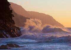 na pali coast (*michael sweet*) Tags: ocean sunset sea nature beauty canon island hawaii coast michael sweet scenic wave na monica kauai refraction coastline pali