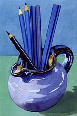 Blue pencils (Martin Blunt) Tags: blue pencils exercise watercolour oldpainting blackpencil carpenterspencil flatwashes