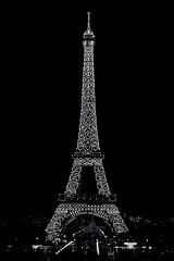Eiffel Tower (marianboulogne) Tags: city longexposure nightphotography light urban blackandwhite paris france monochrome architecture night lights mono europa europe exposure noiretblanc sony eiffeltower latoureiffel nuit pary francja