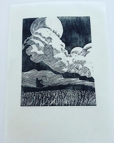 First proof off block. Few changes to be done but very happy with initial print #woodengraving #printmaking