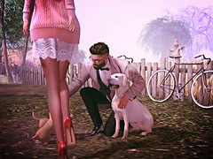 Picking up a new family member (umshlanga.barbosa@btopenworld.com) Tags: dog lab labrador retriever petting legs high heels highheels skirt hawt handsome beard puppy puppies outdoor bike bycicle