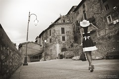 Travelling . . . (We're Born to Loose, But We Live to Win) Tags: athlondj christopherholland artena italy girl woman portrait walking summer camminare prospettiva italia canon 80d seppia