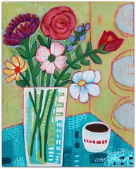 A Fine Time (Regina Lord (creative kismet)) Tags: art painting artbyreginalord acrylic bouquet coffee tea time flowers blooms vase table