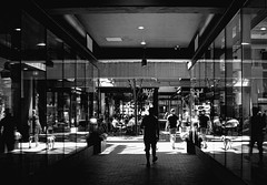 Meet Me Here... (charhedman) Tags: blackandwhite streetphotography gastown vancouver meet people reflections shadows dog
