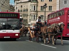 Contrast (BenjaminSeibert) Tags: mamiya645 sekorc kodak portra160 salzburg austria horse bus street contrast