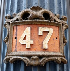 47 (pburka) Tags: 47 fortyseven four seven number digits address murrayst tribeca nyc manhattan iron metal blue orange decorative cast ironwork 47frame
