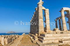 The temple of Poseidon at dawn (Ivanov Andrey) Tags: thetemple archaeology ruins religion paganism poseidon cape columns stairs stone stones horizon sky cloud clouds blue island god gods cooker cookers sand ride journey morning dawn sun sea ocean water reflection wave surf tide ebb greece