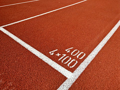 4  100 metres relay start line (Santeri Viinamaki) Tags: 4100metresrelaystartline startline meter metre 4x100 relay sprint athleticstrack trackandfield runningtrack leichtathletikanlage
