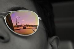 IMG_9608 (Triphonova) Tags: aviators sunglasses blackandwhite color splash cars driving roads inthemirror