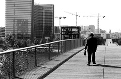 By crossing the footbridge (pascalcolin1) Tags: paris13 bnf homme man passerelle footbridge traversant crossing photoderue streetview urbanarte noiretblanc blackandwhite photopascalcolin seine