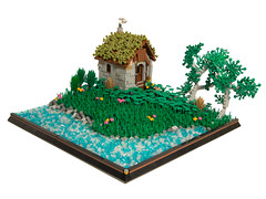 Cottage Life (BrickCurve) Tags: lego cottage castle moc landscape goh avalonia trees river water grass flowers