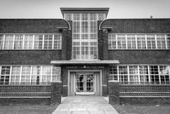 Widnes health centre 01 HD sep 16 (Shaun the grime lover) Tags: widnes halton cheshire lancashire art deco architecture health centre hdr building doorway monochrome path window