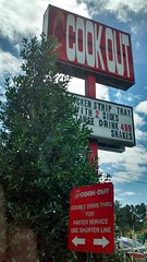 Signs At Cookout Lumberton. (dccradio) Tags: lumberton nc northcarolina robesoncounty cookout restaurant drivethru fastfood eat shakes burgers food tree trees greenery sky clouds sign