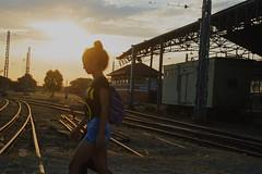 Crossing the golden rails (mara.arantes) Tags: sunset sky digital trainstation rails d3200 nikon perspectiva trees people brazil golden sun linhas lineas flickr trem