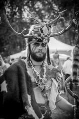 From the stone ages (Mathay Jean-Luc) Tags: canon eos 1100d rebelt3 sigma 1750mm morbecque nordpasdecalaispicardie france fr flanders rural party portrait past history folklore histoire noiretblanc blackandwhite europe parc park trees arbres people bw old bnw mono monochrome flickr hat tribal horns cornes skull crne necklace collier beard barbe