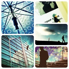 blue pieces (miumiu(miu)) Tags: blue boy shadow sky people bird square colorful sity iphone  iphoneography