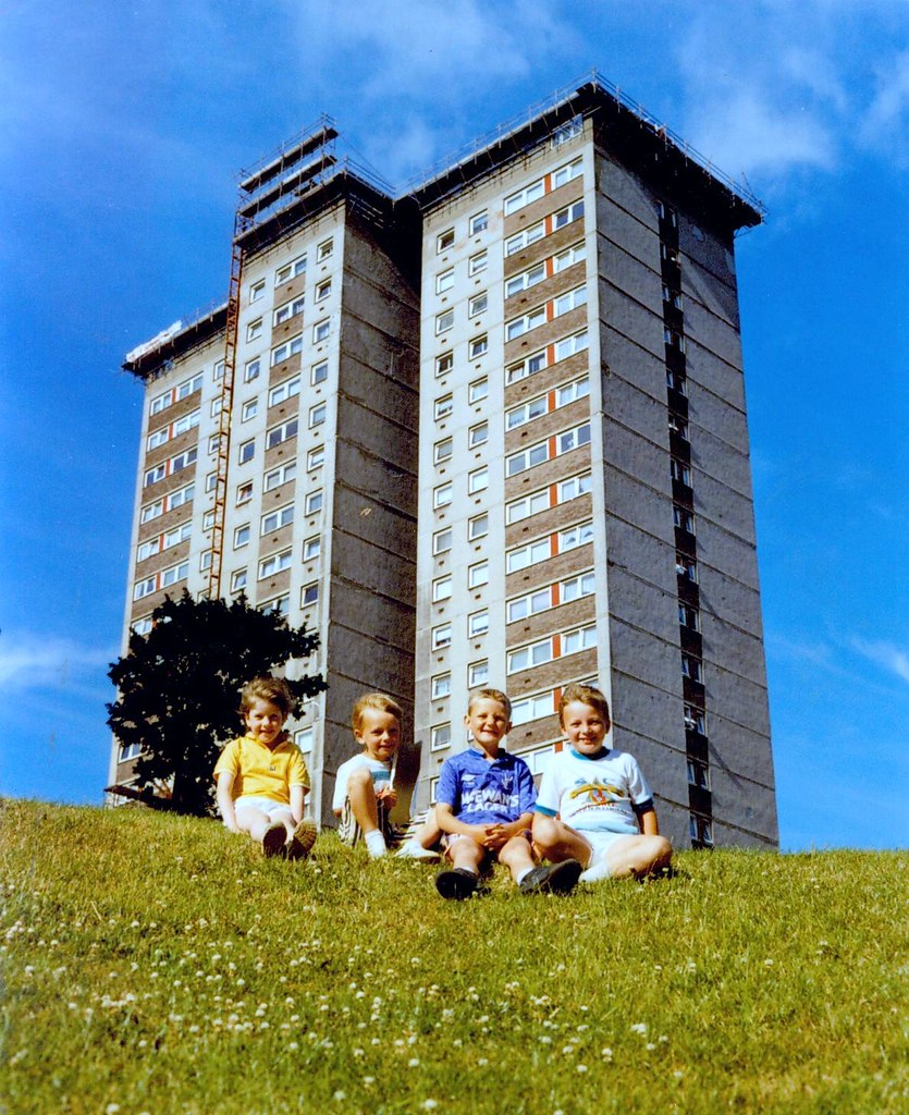 Youngsters Outside Cranhill Flats, July, 1990.