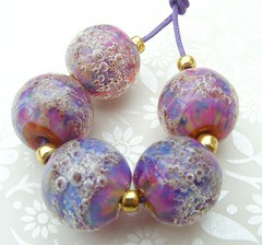 Hipster Peacock Bubbles (Glittering Prize - Trudi) Tags: pink glass beads purple hipster bubbles peacock round lampwork