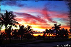 June 2nd Sunset  Haulover Beach Park, Miami (*Arcade) Tags: street trees sky sun beautiful clouds colorful miami vibrant palmtrees haulover miamibeach iphone hauloverbeach hauloverbeachpark iphoneography