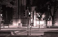 Red (Isengardt) Tags: street red tree rot church monochrome canon eos stuttgart walk kirche pedestrian dontwalk monochrom ampel baum laufen langzeitbelichtung longtimeexposure strase 550d regionstuttgart fusgnger berweg