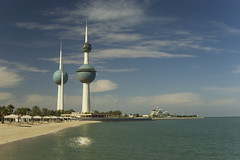 Kuwait Towers (Feridge) Tags: blue white tower tourism beach water architecture modern observation site gulf state islam famous iraq watertower towers landmark arabic east deck needle sphere oil kuwait middle eastern spheres viewing islamic touristic kuweit