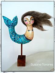 mermaid art doll (Susana Tavares) Tags: blue artdolls mermaid whimsical mixedmediaart susanatavares ateleirsusanatavares