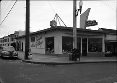 Sunset Village: Sunset Toggery and Sally's Coffee Shop, Judah & 45th Avenue