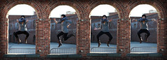 Dumbo Arches (Luigicix) Tags: bridge brooklyn jumping model action outdoor many arc dumbo arches same sequence duplicate equal