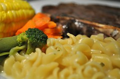 My dinner!! (Bron C (not here much)) Tags: dinner corn tea bokeh broccoli pasta carrot peas lamb bronc bron odc inthekitchen odc2 ourdailychallenge