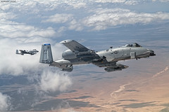 Hogs! (~Clubber~) Tags: sky airplane war fighter desert aircraft aviation duo nevada jet formation hog airborne pilot tanker fuel warthog a10 thunderbolt redflag tankkiller aerialrefueling