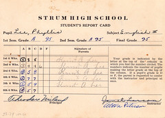 1933 - Grandma's 10th grade report card - engl...