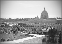 Lost in the City of Popes and Priests (Bert Kaufmann) Tags: italien italy panorama blur vatican rome roma church skyline lost blackwhite focus italia zwartwit basilica kirche stranger panoramic église kerk lazio italië villaborghese pincio vaticaan basiliek silhouetten contouren verdwaald vreemdeling lostinthecityofpopesandpriests