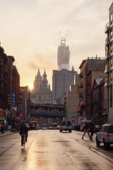 Almost there. (Linh H. Nguyen) Tags: street city light sunset newyork beautiful fog architecture golden downtown sony cinematic freedomtower 12corners nex7 155eastbroadway