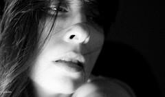 grainy feeling... (pukilin) Tags: light portrait bw selfportrait luz face 35mm hair shadows retrato cara grain bn autorretrato sombras pelo grano nikond3100
